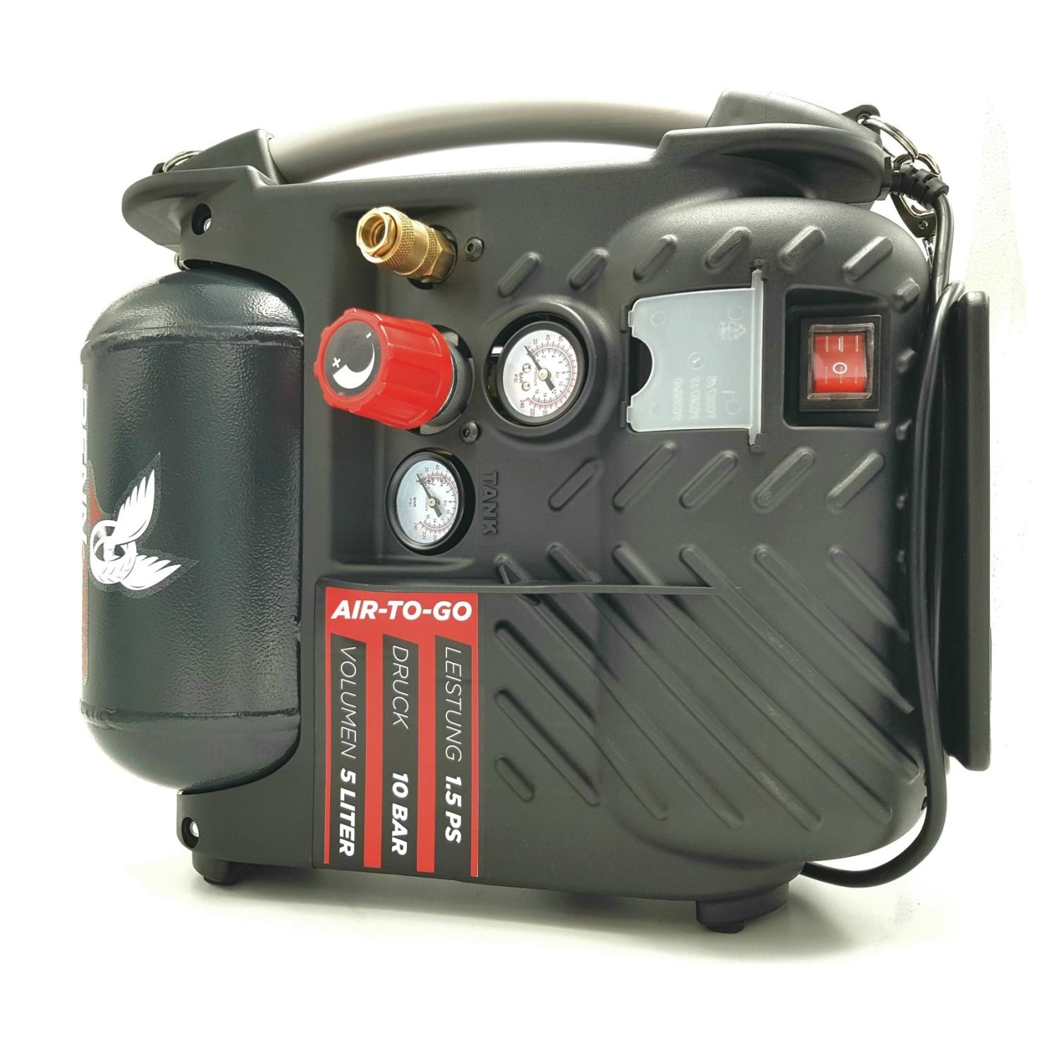 druckluft kompressor tragbar air to go 5 liter tank ebay. Black Bedroom Furniture Sets. Home Design Ideas