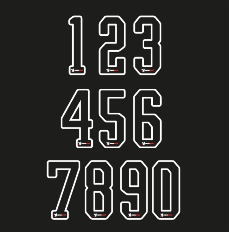 Startnummer Aufkleber Komplett Set